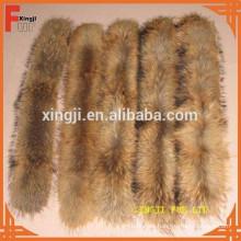 cuello de piel de mapache color natural 4 * 80cm con cinta