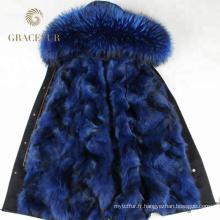 Parka doublée en fourrure d'hiver avec capuche doublée de fourrure