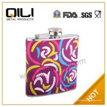 Overall heat printing on leather cheap liquors hip flask
