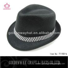 Chapéus baratos de fedora negra com feltro
