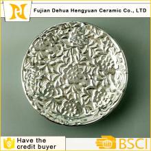 Galvanisieren Silber Porzellan Teller für Home Decrotion