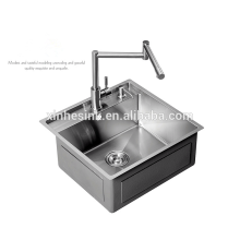 Handmade R0/R10/R15/R19 Founctional Stainless Steel Kitchen Sink with step, Stainless Steel SUS 304 Gauge 16/18