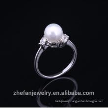 2015 super fashion copper new design pearl finger ring for women