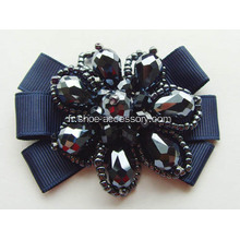 Nice Vintage Black Fabric Flower Shoe Clips Ornements
