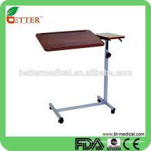 hot sale !!!Tilt top over bed/beside table for hospital use (height adjustable)