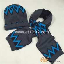 Acrylic Jacquard Customized Knitted Winter Boy's Hat  Scarf