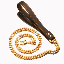 Factory Drop Shipping 14mm Gold Stainless Steel Cuban Chain Pet Dog Leashes Support Custom Pet Supplies For Dog Walking Training