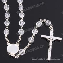 Großhandel 6mm Silber religiösen Kristall Kette Rosenkranz
