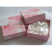 Caixa de papel de embalagem de cosméticos elegante cartão com cetim