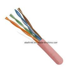 China Made preço de fábrica UTP Cat5e cabo LAN 1000FT Pink