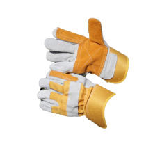 NMSAFETY yellow cotton with cow split leather gloves