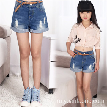Cotton Blue Ripped Short Jeans for Children
