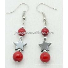 Estrella de hematites con pendientes de cuentas de coral rojo natural