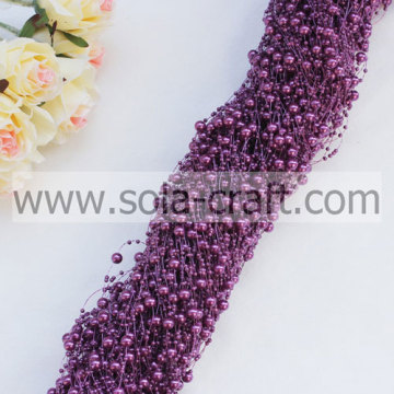 Crimson Purple Faux Pearl Beaded Chains With 3+8MM Beads