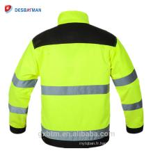 Vestes de sécurité réfléchissantes fluorescentes de haute visibilité d'hiver de tissu de Polycoton de vente chaude avec la poche d'outil