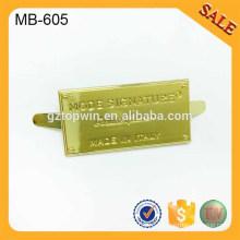 MB605 Пользовательские желтый металл логотип пластины для кошелька, сумки, обувь