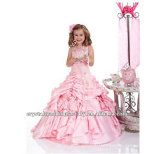 Livraison gratuite chaude !! halter rose embriodered backless ruffles page concours robe de bal robe fille fille CWFaf4393