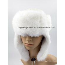 Lambskin & Rabbit Fur White Ushanka Winter Hat with Ear Flap