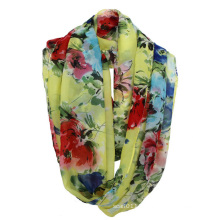 Woman Fashion Flower Printed Polyester Chiffon Spring Infinity Scarf (YKY1104)