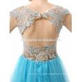 Appliqued azul chiffon sem encosto curto frente longa volta vestido de noite
