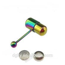 Rainbow Titanium Vibrant Tongue Barbell Ring Piercing