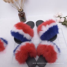 Qztx02 2020 Fur Slippers Fur Slides Rain bow Mommy And Me
