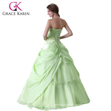 Grace Karin Girl's Strapless Sweetheart Green Long Western Quinceanera Dress CL2517