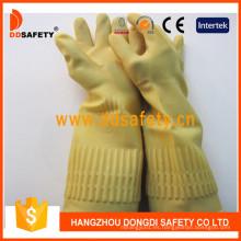 Guantes de trabajo del hogar del puño del rodillo sin forro de látex amarillo largo DHL441