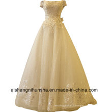 Luxury Lace Flower Princess Wedding Gown with Beading Boat Neck