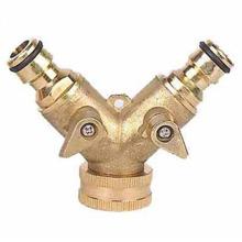 Connecteur de tuyau d'arrosage 2 voies en laiton