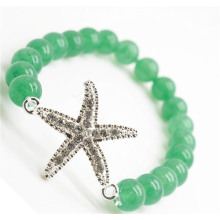 Green Aventurine Gemstone Bracelet with Diamante alloy starfish Piece