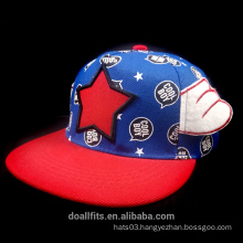 six panel chilren snapabck cap with emboridery and eage white wing good quality