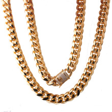 Fashion 14mm Hot Sale Men's Stainless Steel Jewelry Gold Plated Encrypted Six Sides Polished White Diamond Clasp Necklace
