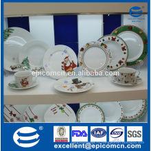 20pcs / 30pcs рождественская серия фарфоровая посуда в подарочной коробке