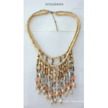 Double Seedbead Necklace with Metal Tassel
