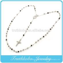 2015 mode Beckham Mère Marie et religieux Jésus Croix charme avec Black 5mm perles chapelet en acier inoxydable pendentif collier