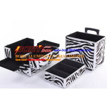 Large 3 Tiers Zebra Cosmetics Trolley Box