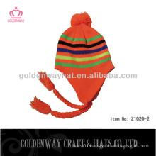 orange knitted hats earflaps dobby 2013 fashion knit hats custom design factory wholesale
