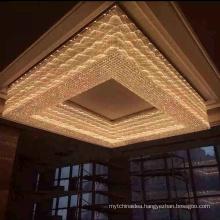 China Supplier modern hotel gold rectangular big crystal luxury ceiling LED chandelier