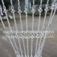 Transparent 18MM&14MM&6MM Wire Acrylic Crystal Beaded Garland Trim