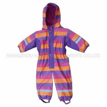 PU Stripe Conjoined Raincoat/Overall for Children