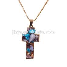 Moda Boho Druzy Colar De Pingente De Cristal, Cruz Religiosa Jóias
