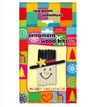 Kinderdekoration Großer Eis am Stiel hölzerner Weihnachtsschnee-Mannzusätze handgemachtes DIY Handwerkskasten
