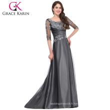 Grace Karin 2016 Nouvelle Collection 1/2 Manche Coton Gris Gris foncé Long Mère de la robe de mariée avec manches GK000029-1