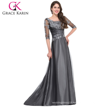 Grace Karin 2016 New Collection 1/2 Sleeve Square Neck Dark Grey Long Mother of the Bride Dress With Sleeves GK000029-1