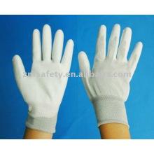 13G Nylon gestrickter nahtloser ESD-Handschuh mit weißem PU auf der Handfläche