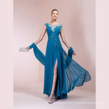 Chiffon Blue Applique Beading A Line Evening Dress