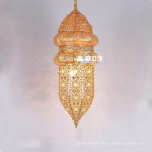 Style marocain pendentif éclairage or plaqué fer lustre pour Restaurant 030