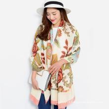 Women Fashion Floral Printed Viscose Silk Scarf (YKY1149)