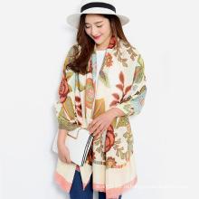 Женщин моды Цветочный печать вискоза Шелковый шарф (YKY1149)
